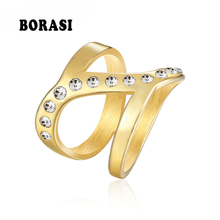 BORASI Elephant Crystal Ring Gold-Color Wedding Rings For Women Stainless Steel CZ Zircon