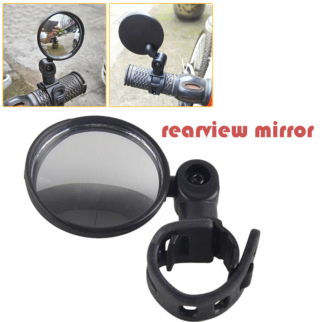 2 x 360° Rotate Cycling Bicycle Bike Handlebar Rear View Rearview Mirror Safety