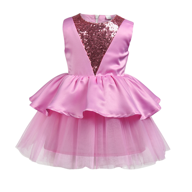 2018 New Baby Girls Dress Sequins Flower Girls Cake Dress For Wedding  Birthday Party Newborn Girl 9466195c29e1