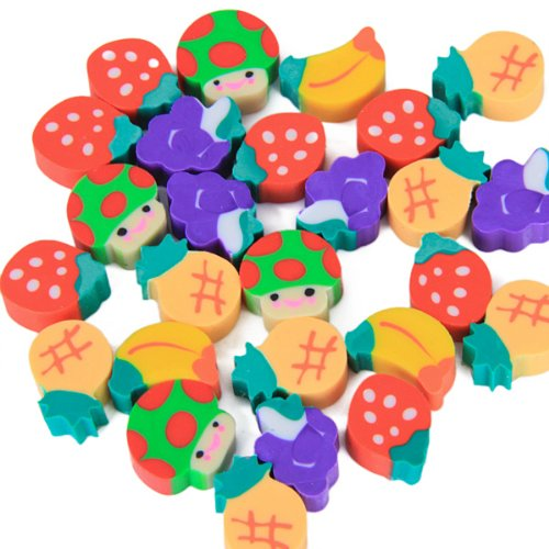 Affordable 50 X Mini Fruit Shapes Colorful Erasers For Pencil