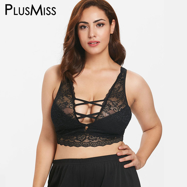 3db232747 PlusMiss Plus Size 5XL Sexy Lace Up Crop Tops Women Bralette Lingerie Black  Lace Bras Cami