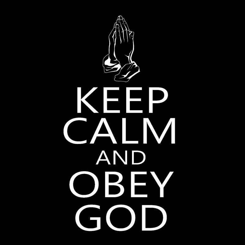 8.4X16CM להישאר רגוע לציית אלוהים מעניין ויניל מדבקות-סטיילינג S8-0631
