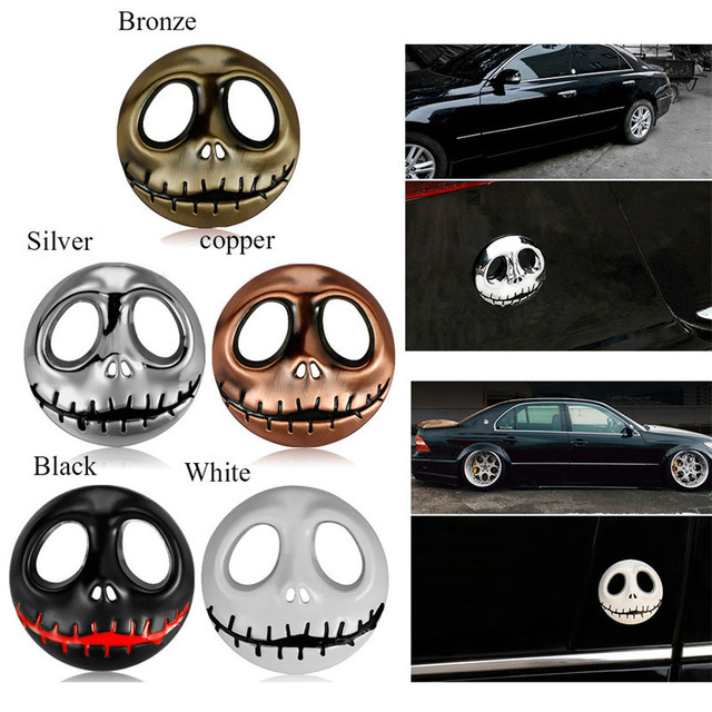 Metal pumpkin king style car stickers motorbike accessories halloween skeleton car decals stickers trailer decorative stickers