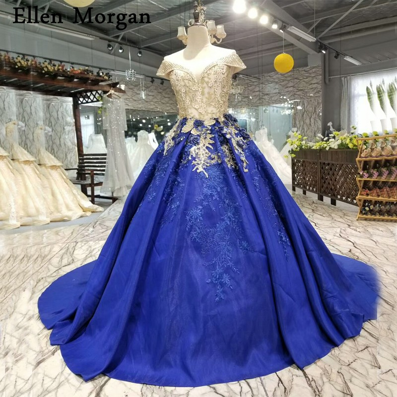 Wedding Dresses 2018 Couture Ball Gowns Elegant Royal: Royal Blue Satin Ball Gowns Wedding Dresses 2018 Custom