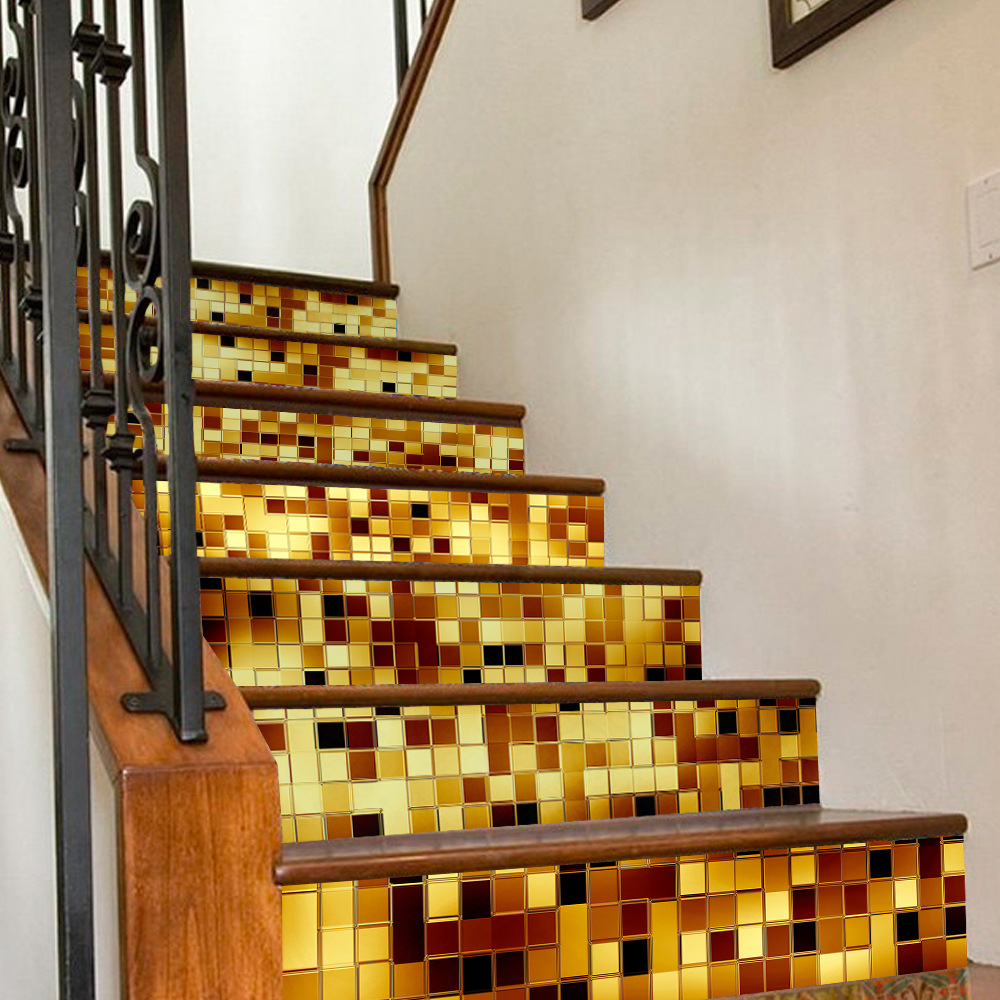 simulation stairs stickers 3D gold silver mosaics staircase decoration waterproof sticker PVC self adhesive decoration