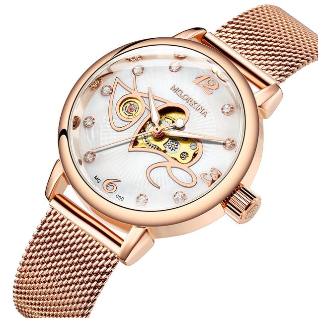 אופנה יוקרה שעון נשים אהבת דפוס אוטומטי מכאני שעונים מלא נירוסטה רוז זהב רשת חגורת גבירותיי שעון יד