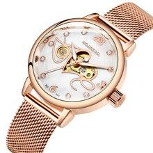 Reloj de lujo para mujer, diseño de amor, mecánico, automático, de pulsera, correa de malla de oro rosa de acero inoxidable completo