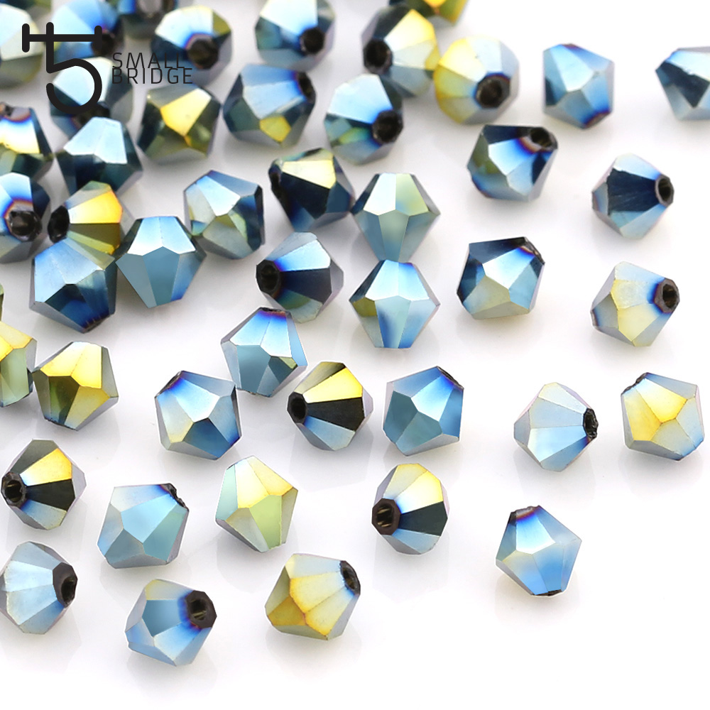 1000pcs MIX Glass Crystal Faceted Bicone Beads 4mm Spacer Jewelry Findings