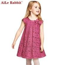 AiLe Rabbit/Летний стиль кружевное платье для девочек для маленьких девочек Повседневное платья Детская одежда, vestidos Infantis Одежда для девочек