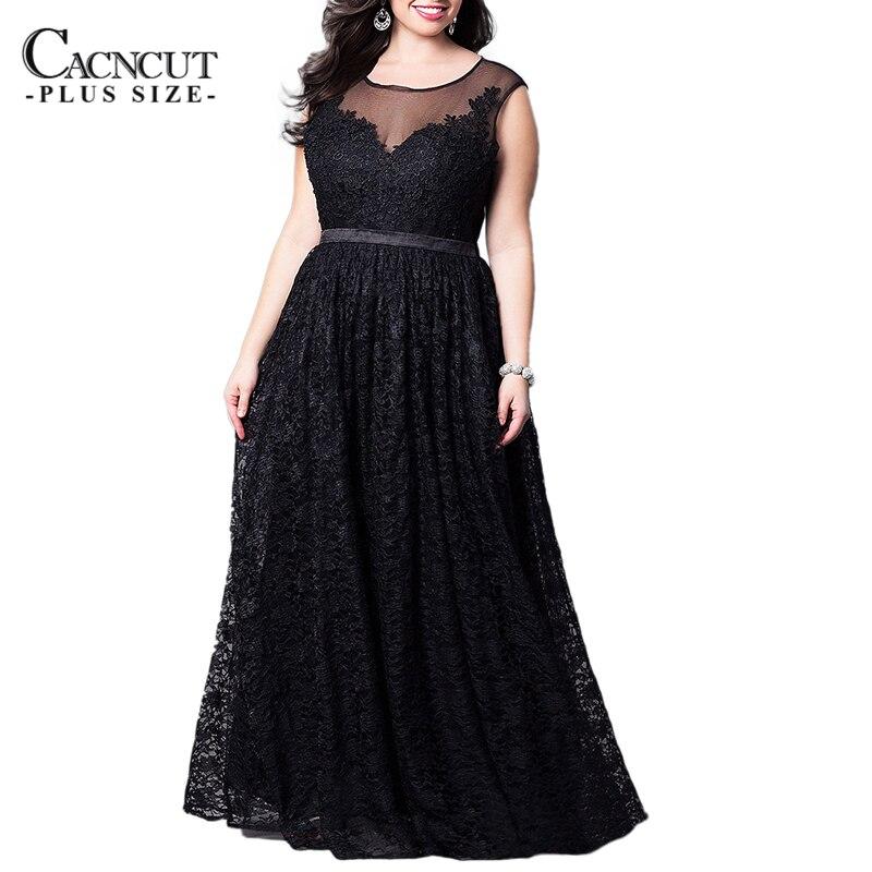 Vintage 6XL grande taille dentelle longue Robe femmes noir soirée fête Maxi Robe 2019 printemps grande taille sans manches Patchwork Robe