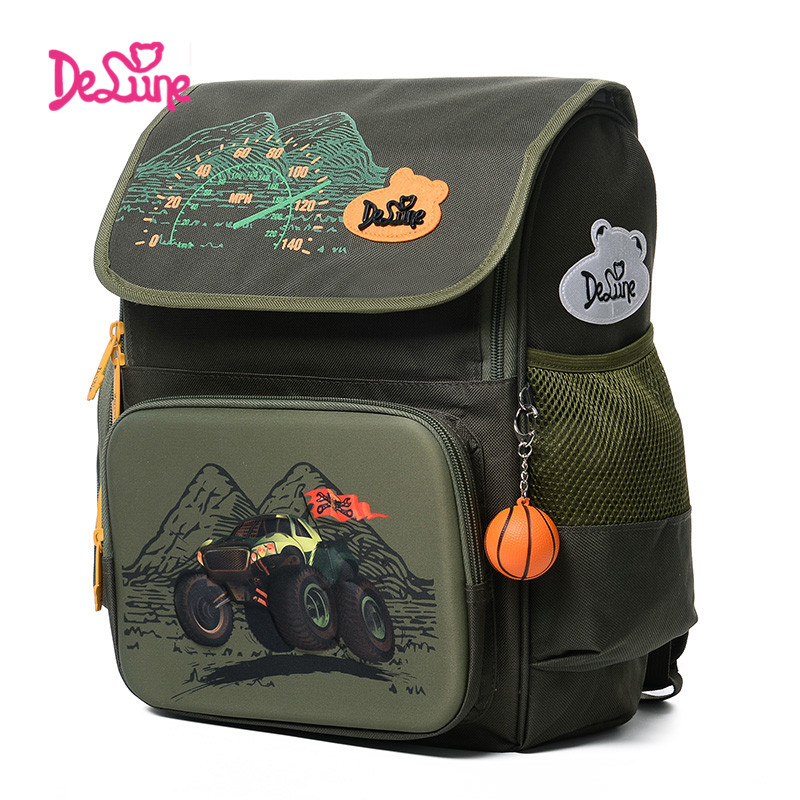 Delune High Quality Cartoon School Bags for Children red car 3D Locomotive Printing boys Backpack Child Kids Primary School Bags delune