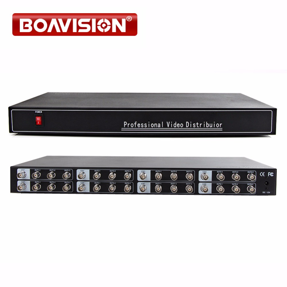 Video Distributor/Splitter 8 in and 24 Output,Support HD AHD/ CVI/TVI 1080P/720P Camera BNC In&Out,Distance Up To 300-600M 2 to 4 video splitter hd video distributor bnc 2 input 4 output support hd ahd cvi tvi camera in