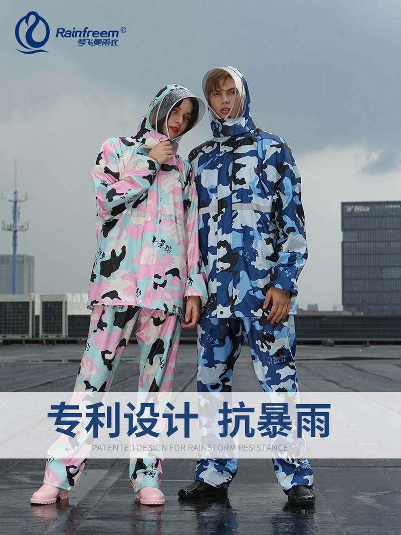 Set Waterproof Thicken Split Raincoat for Men Transparent Protection Mask Hooded Womens Raincoat Long Coat Impermeabl 3DYYD02