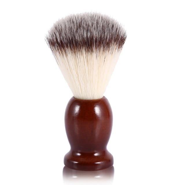 Professional Men's Shaving Brush Wood Handle Mustache Cleansing Barber Soft Nylon Hair Facial Clean Shaving Brush High Quality
