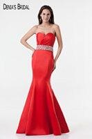 2017 Immagini Reali Red Mermaid Abiti Da Sera con Scollo a cuore Pavimento-Lunghezza In Rilievo Sliver Prom Gowns