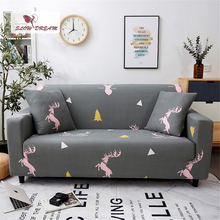 Slowdream Gray Sofa Cover Elastic Band Deer Nordic Stretch Furniture Love Couch Cover For Living Room Decor Home Double Seater slowdream nordic style sofa cover elastic band couch cover stretch furniture single chair double love seat decor home slipcover