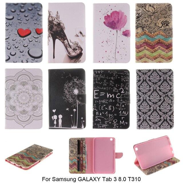 Мода PU Кожаный Чехол Для Samsung Galaxy Tab 3 8.0 T310 SM-T310 case Бумажник с Слот для Карт Планшетный Флип Книга Стенд