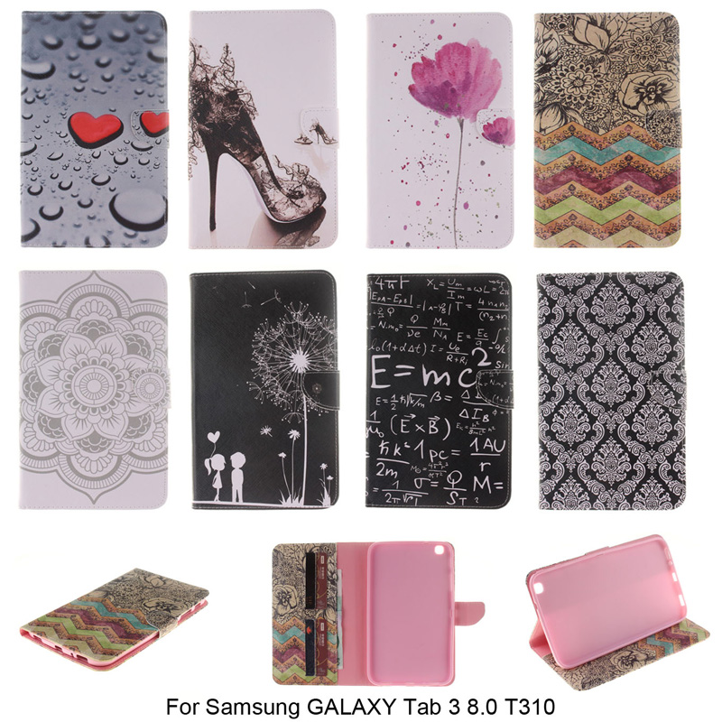 Fashion PU Leather Cover For Samsung Galaxy Tab 3 8.0 T310 SM-T310 case Wallet Style with Card Slot Tablet Flip Book  B45 цена