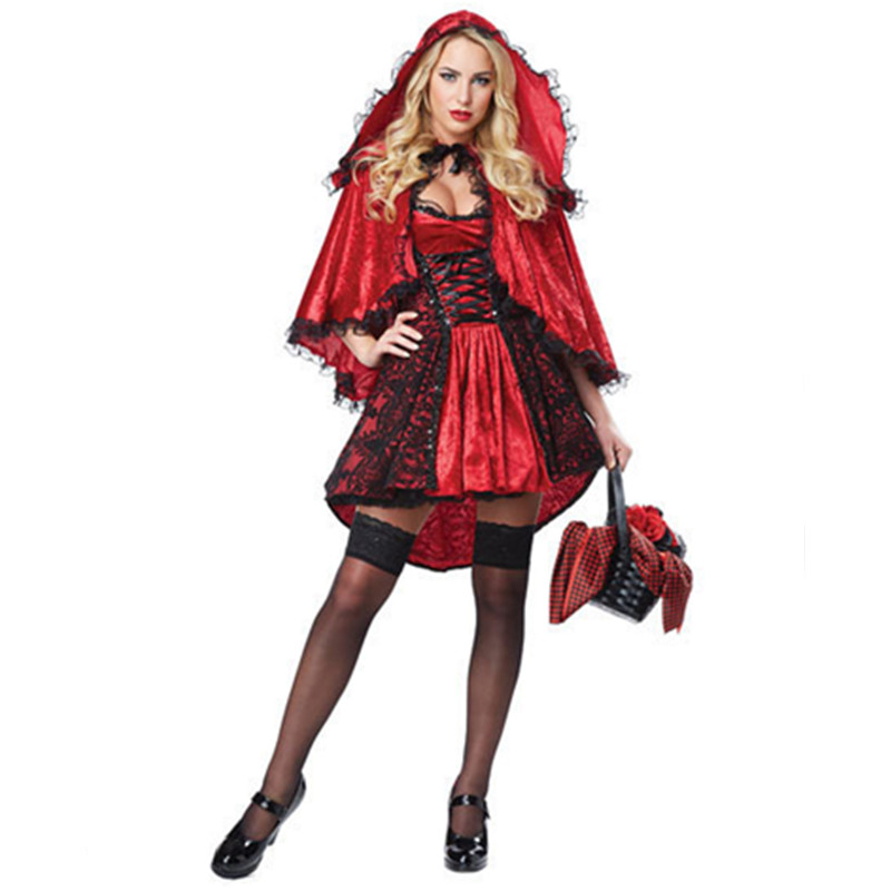 2018 Halloween Sexy Little Red Riding Hood Costume Sexy Ladies Cosplay Fantasy Fancy Dress For Women Girls