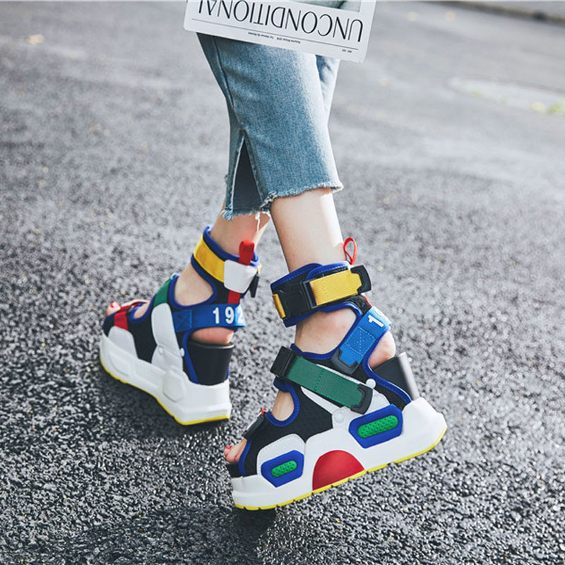 High Tops Summer Sandals Shoes Women Leather Platform Wedges High Heel Gladiator Sandals Rhinestone Sneakers Trainers Shoes