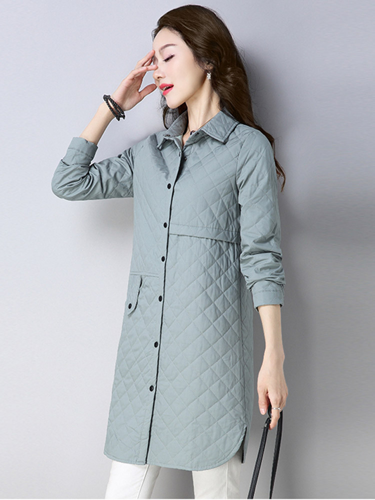 2019 New Cotton Coat Woman Solid Color Parker Elegant Long Sleeved Single Breasted Elegant Medium Long Section Loose Thin Jacket in Parkas from Women 39 s Clothing