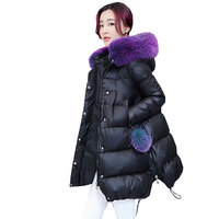 90 процентов белая утка вниз толще Большие размеры лисий мех воротника зимняя куртка Для женщин парки 2018 с капюшоном Ccloak длинные женственное