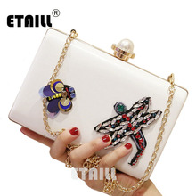 ETAILL Diamond Dragonfly Bee Evening Bags Brand Designer Dinner Clutch Wallets with Chain Party Shoulder Bag Drop Shipping
