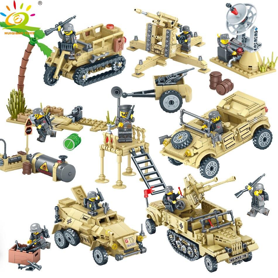цена на 400+pcs WW2 Military Camp Trucks Jeeps car Building Blocks Compatible legoed Army Soldiers Weapon set Bricks Toys for Children