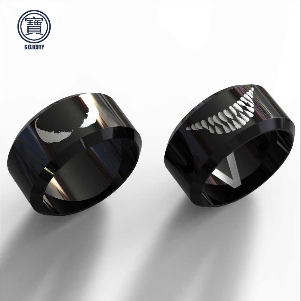 GELICITY Double-sided Venom Biker Ring Marvel Black Ring Stainless Steel Hiphop Black Ring Men Accessories Dropshipping Venom