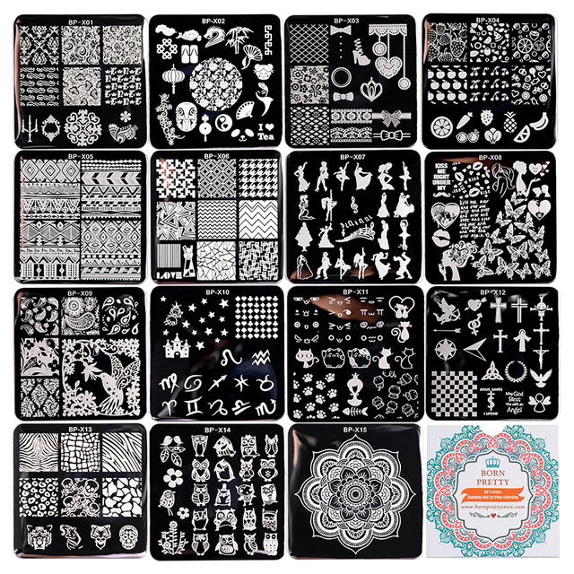 15Pcs/set BORN PRETTY 6*6cm Square Nail Art Stamp Template Pretty Manicure Nail Stamping Image Plate BP-X01~X15