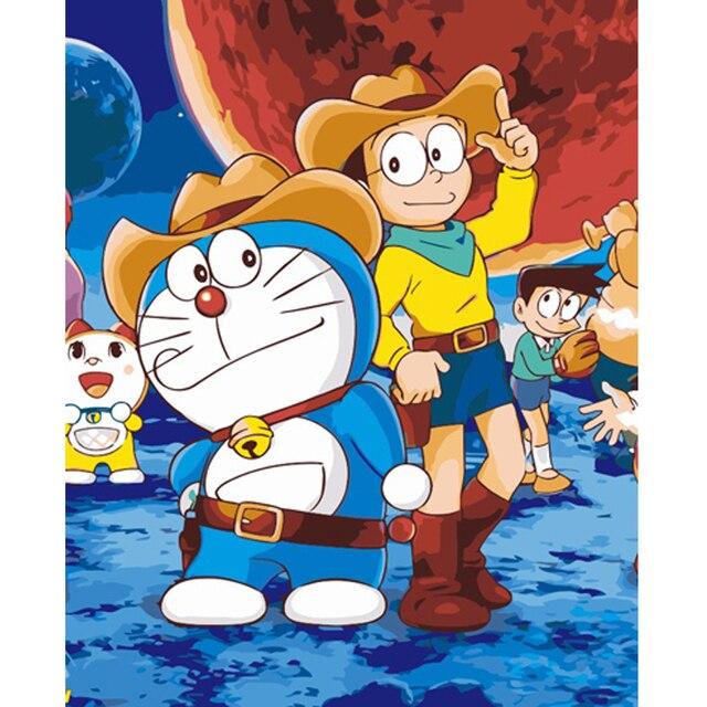 Diy Painting By Numbers Hand Painted Doraemon Cartoon Oil Paintings