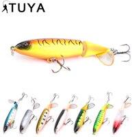 8pcs/set whopper Popper Fishing Lure 10cm 13g Topwater Rotating Tail Minnow artificial bait fish plopper hard lure