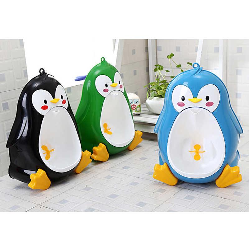 Дети животное Пингвин писсуар, унитаз горшок & Hook & щетка обучение настенная подставка для маленьких мальчиков девушки Ванная комната писсуар, унитаз