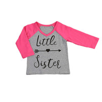 2017 Autumn New Toddler Baby Kids Girls Raglan Sleeve T-shirt Letter Tops Matching Outfits Casual Clothes