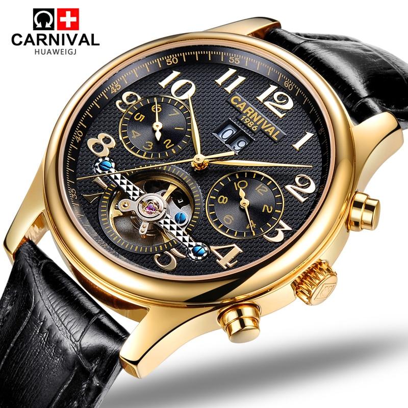 Carnival tourbillon waterproof Watch Men Stainless steel Sapphire Automatic Mechanical black leather Watch relogio masculine цена 2017