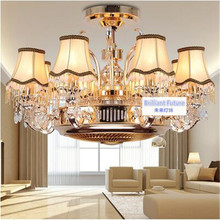 Anion stealth fan lamp ceiling LED zinc alloy crystal droplight sitting room european-style restaurant remote control lamps
