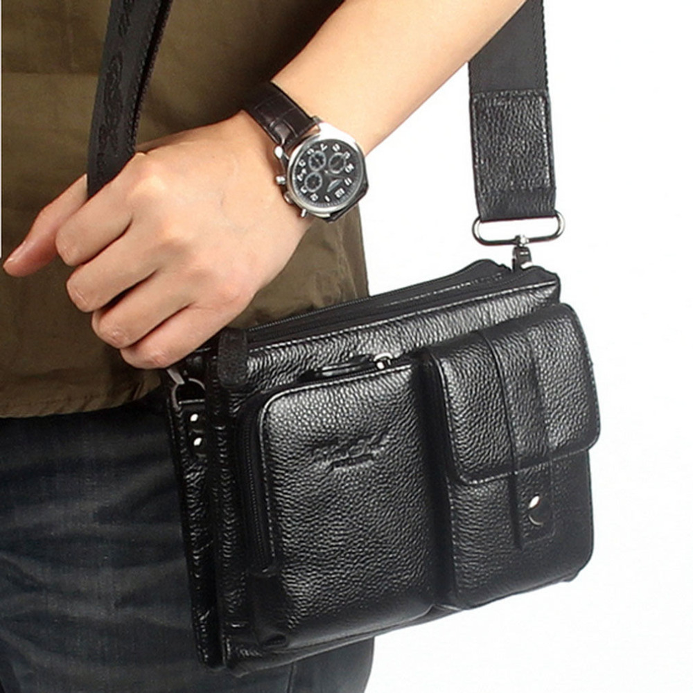 Men Genuine Leather First Layer Cowhide Messenger Shoulder Cross Body Bag Waist Fanny Belt Hip Bum Male Clutch Tote Hand Bag crazy horse oil wax genuine leather shoulder bag for men casual messenger bags male hip bum loops belt 9 inch fanny waist pack