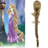 Princess Tangled Rapunzel Anime Cosplay Wig Ponytail Synthetic Hair Braids Halloween Costume Long Golden Blond Womens Wigs