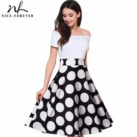 Nice Forever 50s Fashion Slash Neck Ladylike Vintage Charming Print Dot Off Shoulder Party Ball Gown