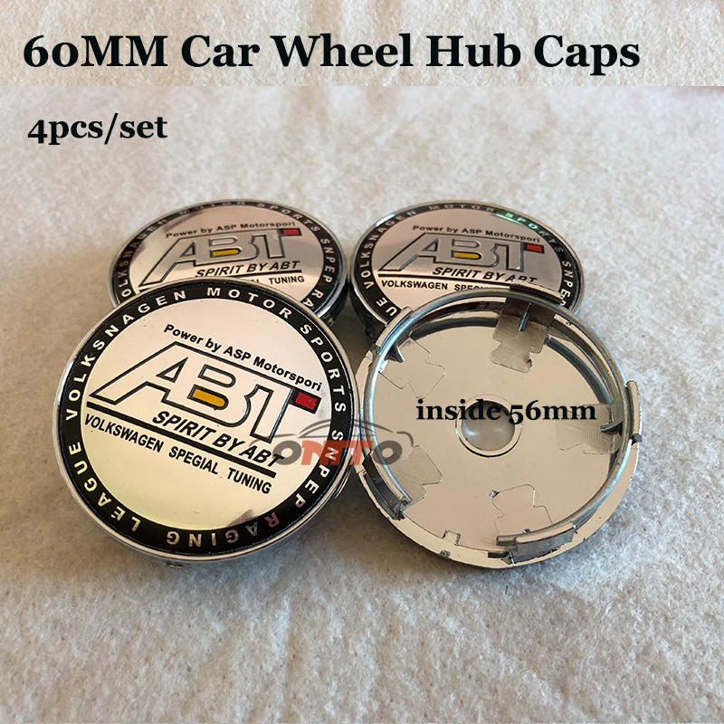 4pcs set ABT Logo emblem badge 56mm 60mm PVC Car Wheel hub center caps for vw