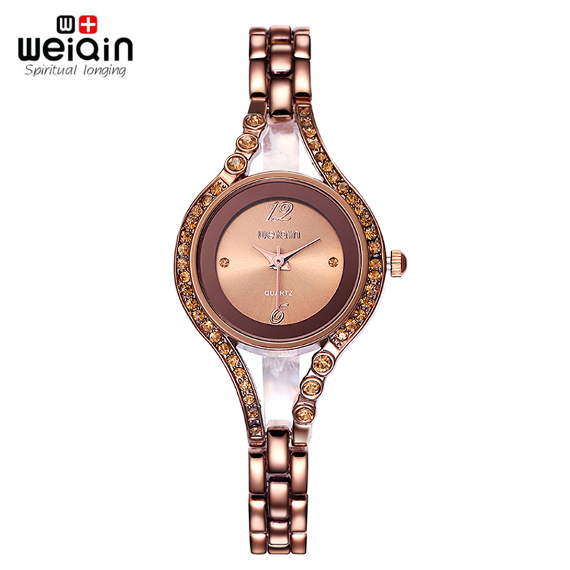 WEIQIN Womens Brand Watches Fashion 24 Hour  Water Resistant Coffee Silver Crystal Rhinestone Bangle Bracelet Watch Ladies