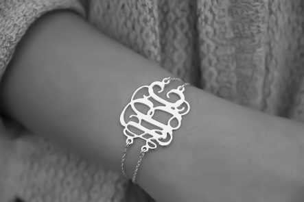 925 Silver Monogrammed Bracelet With Name Initial 1 2 Monogram Double Chain In Charm Bracelets From Jewelry Accessories On Aliexpress