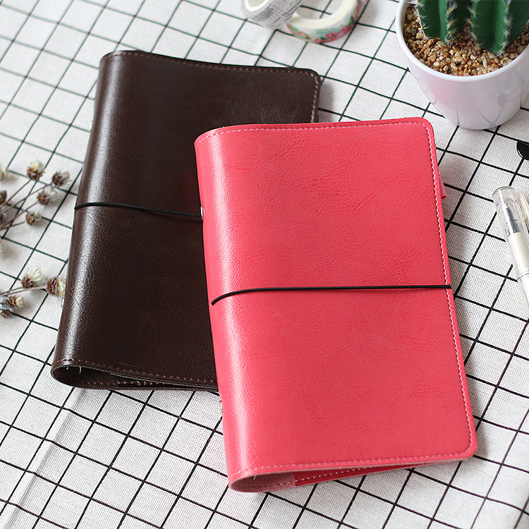 A5 A6 Spiral Loose Leaf Notebook Cover Binder, Faux Leather Soft Copybook Business Travel Diary Planner Agendar Shell