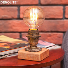 DENOLITE New Loft Industrial Retro Style Handmade Wrought Desk Light For Cafe Bar Office Decoration With G80 Edison Bulb(China)