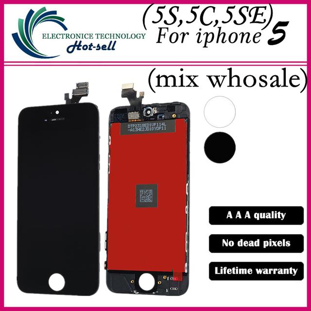 1cs/lot aaa qualidade lcd screen display assembléia digitador para iphone 5 display lcd preto/branco todas as peças