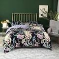 Тропические Цветочные листья цветущее одеяло пододеяльник темно-синий ультра мягкий шелковистый Египетский хлопок постельные принадлежн...