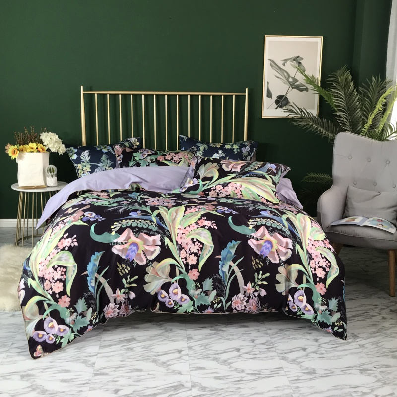 Tropical Floral Leaves Blossom Duvet Quilt Cover Navy Blue Ultra Soft Silky Egyptian cotton Bedding set TWIN QUEEN KING SIZETropical Floral Leaves Blossom Duvet Quilt Cover Navy Blue Ultra Soft Silky Egyptian cotton Bedding set TWIN QUEEN KING SIZE