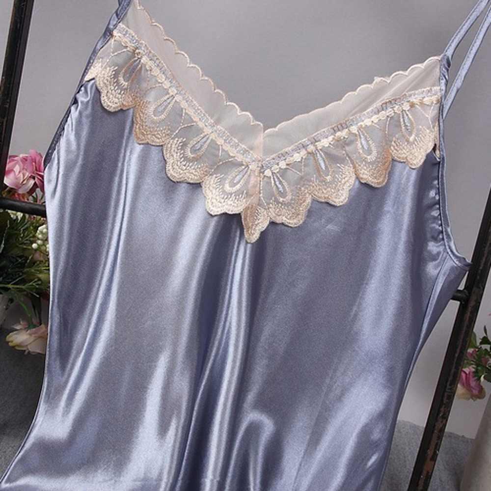 Новинка 2019, сексуальное женское белье, шелковый атлас, кружевное платье, ночная рубашка, ночная рубашка, ночнушки, ночное белье, пижамы # YY