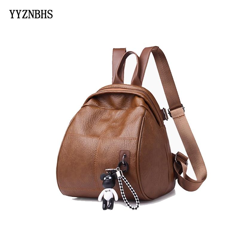 Hot Women Leather Backpacks Vintage Female Shoulder Bag Sac A Dos Travel Ladies Bagpack Mochilas School Bags For Girls Back Pack