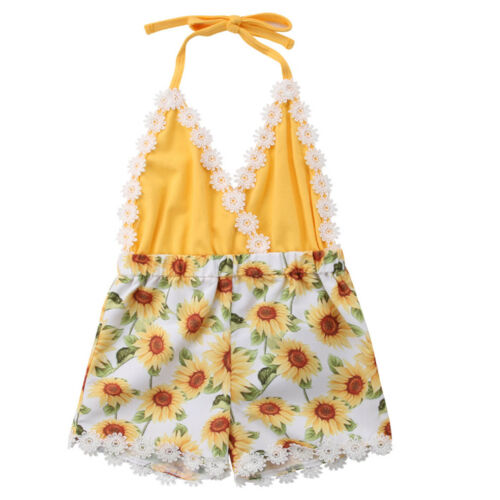 Pudcoco Toddler Kids Baby Girls Lace Sunflower   Romper   Sleeveless Halter Outfits Playsuit